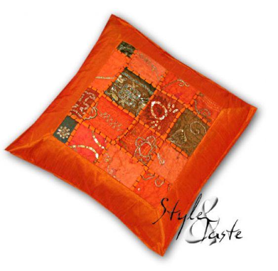 kissen marala orange v1 40x40 mit pailletten ke bello. Black Bedroom Furniture Sets. Home Design Ideas