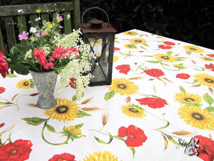tischdecke mohn und sonnenblumen 235x140 ke bello. Black Bedroom Furniture Sets. Home Design Ideas